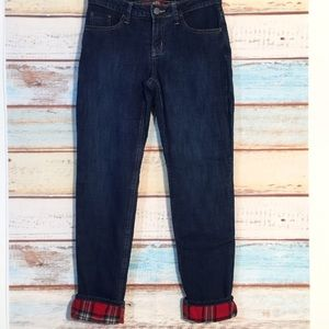 FLANNEL LINED DENIM SKINNY Jeans  Like NEW!